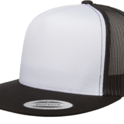 YUPOONG CLASSIC TRUCKER MODEL #  6006W- BLACK WHITE