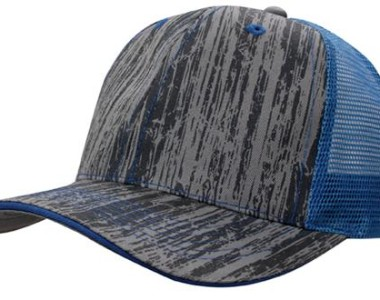 4144 Wood Printed With Mesh Back blue